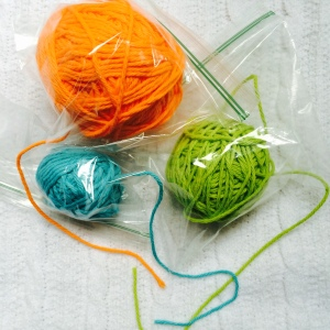 Tiptop bags with snipped corner to yarn dispensing