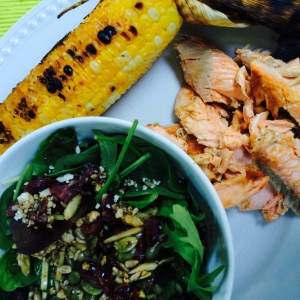 Fresh trout, roasted corn and spring salad